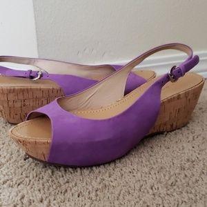 VIA SPIGA cork slingback platform heels
